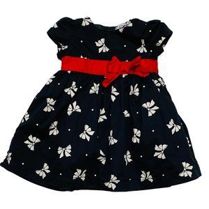 Carter's Black & White Bow Print Cap Sleeve Dress